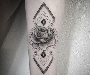 geometric, tattoo, and rose image