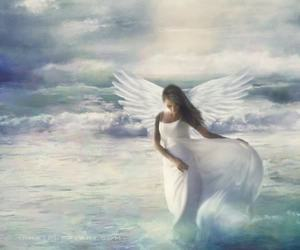 angel, art, and clouds image