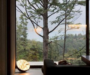 big window, forest, and house image