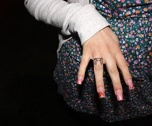 bow, tattoo, and nails image