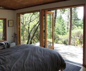bed, bedroom, and big window image