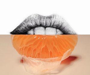 art, lips, and orange image