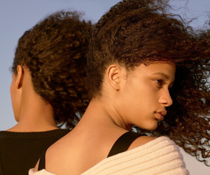 curly hair, natural hair, and wind blown curls image