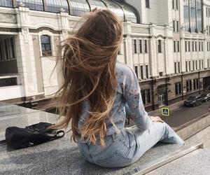 girl, brunette, and long hair image