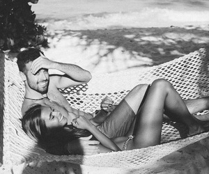 summer, black and white, and couple image
