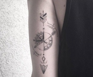 tattoo, arrow, and compass image