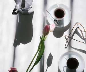coffee, roses, and flowers image