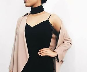 black, choker, and dress up image