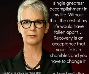 addiction, jamie lee curtis, and recovery image