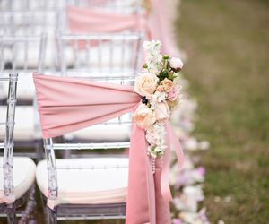 wedding, flowers, and chair image