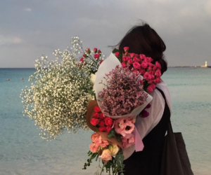 colour, flowers, and girl image