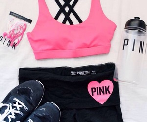 pink, fitness, and outfit image