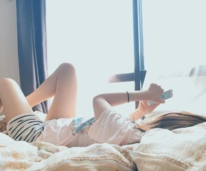 bed, girl, and iphone image