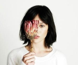 blackhair and flower image