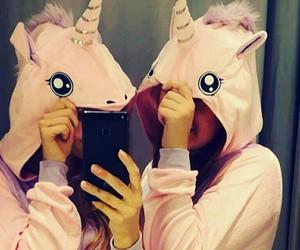best friend, pink, and unicorn image