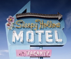 motel, blue, and aesthetic image