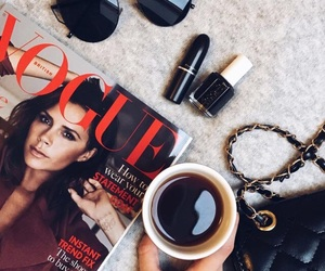chanel, coffee, and vogue image