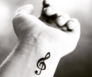 music, tattoo, and black and white image