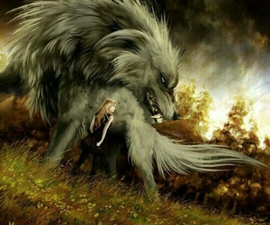 wolf, fantasy, and girl image