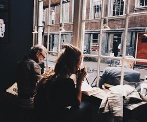 girl, coffee, and book image
