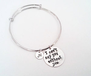 etsy, silver bangle, and maid of honor gift image