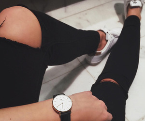 black, clock, and jeans image