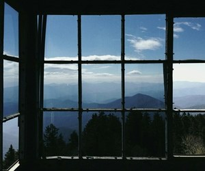 window, sky, and nature image