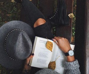 autumn, book, and girl image