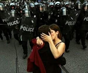 love, kiss, and police image