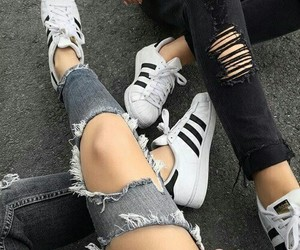 adidas, black, and jeans image
