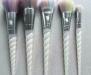 unicorn, Brushes, and makeup image
