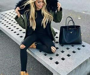 girl, blonde, and winter stye image