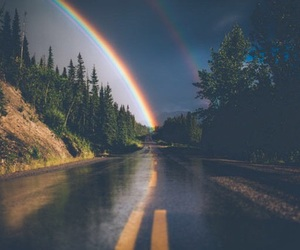 rainbow, nature, and road image