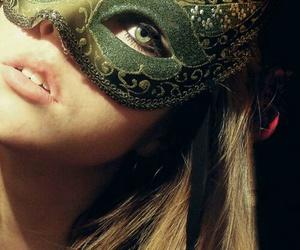 mask, girl, and eyes image