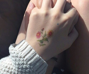 flowers, boy, and tattoo image