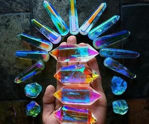 crystal, gems, and rainbow image