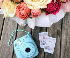 blue, camera, and flowers image