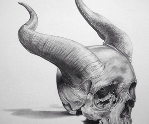 drawing, horns, and skull image