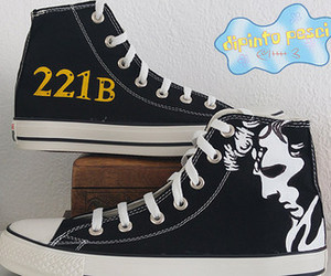 221B Baker Street, custom shoes, and etsy image