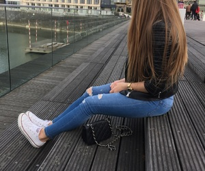 blonde girl, blue jeans, and chucks image