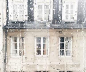 rain, window, and city image