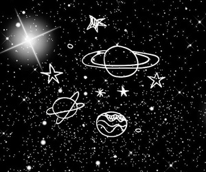 planets, stars, and black image