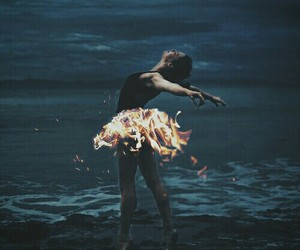 ballet, fire, and dark image