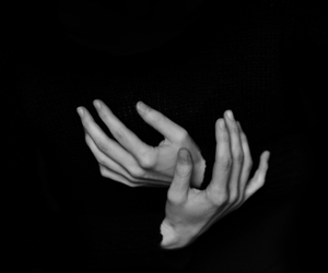 hands, b&w, and black image