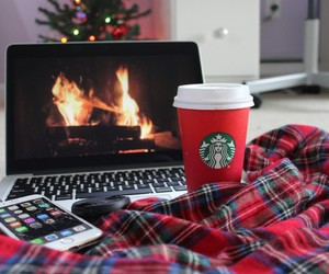 christmas, starbucks, and iphone image