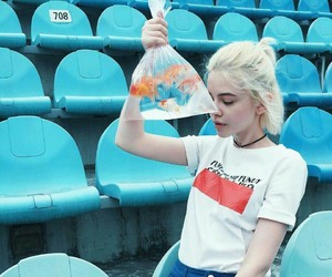 girl, blue, and fish image
