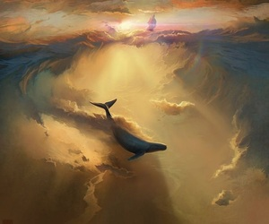 whale, art, and sky image