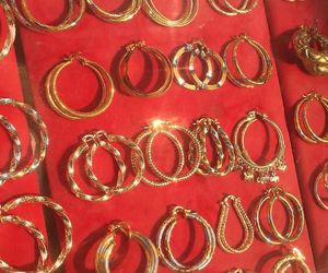 gold, red, and earrings image