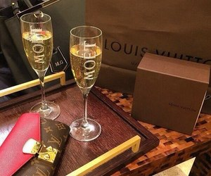 champagne, moet, and Louis Vuitton image