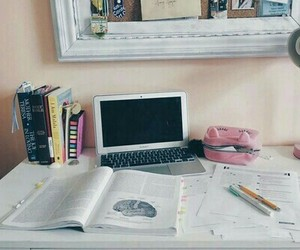 school, book, and desk image